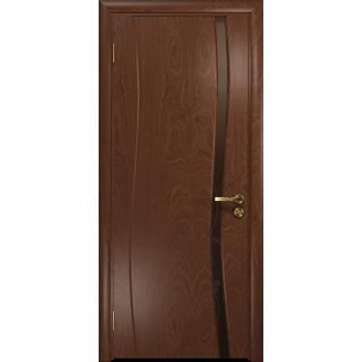 Ульяновская дверь Грация-1 красное дерево стекло триплекс бронзовый «вьюнок» глянцевый