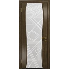 Ульяновская дверь Портелло-2 американский орех стекло триплекс белый 3d «куб»