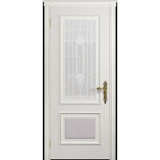 Ульяновская дверь Версаль-1 ясень белый стекло белое пескоструйное «кардинал»