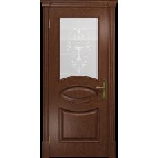 Ульяновская дверь Санремо красное дерево стекло белое пескоструйное «италия»