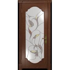 Ульяновская дверь Валенсия-2 красное дерево стекло витраж «кампанелла»
