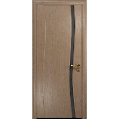 Ульяновская дверь Грация-1 дуб стекло триплекс черный «вьюнок» матовый