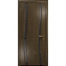 Ульяновская дверь Грация-2 американский орех стекло триплекс черный «вьюнок» матовый