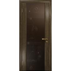 Ульяновская дверь Триумф-3 американский орех стекло триплекс бронзовый «вьюнок» глянцевый