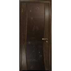 Ульяновская дверь Грация-3 американский орех тонированный стекло триплекс бронзовый «вьюнок» глянцевый