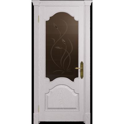 Ульяновская дверь Валенсия-1 ясень белый стекло бронзовое пескоструйное «фиор»