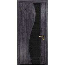 Ульяновская дверь Фрея-2 абрикос стекло триплекс черный с тканью