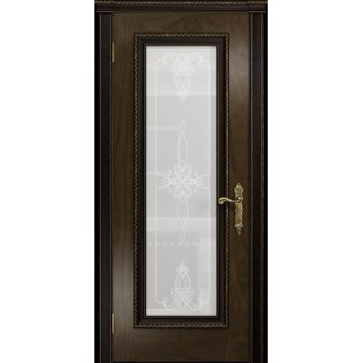 Ульяновская дверь Версаль-5 Декор американский орех тонированный стекло белое пескоструйное «валенсия»