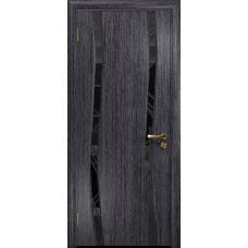 Ульяновская дверь Грация-2 абрикос стекло триплекс черный 3d «куб»