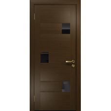 Ульяновская дверь Ронда-1 венге стекло триплекс черный