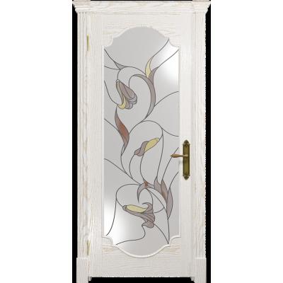 Ульяновская дверь Валенсия-2 ясень белый золото стекло витраж «кампанелла»