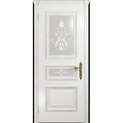 Ульяновская дверь Версаль-2 Декор эмаль белая стекло белое пескоструйное «версаль-2»