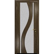 Ульяновская дверь Веста американский орех стекло триплекс белый с тканью