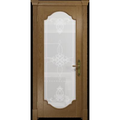 Ульяновская дверь Валенсия-2 ясень античный стекло белое пескоструйное «валенсия»