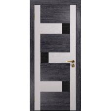 Ульяновская дверь Ронда-1 абрикос/ясень белый стекло триплекс черный с тканью