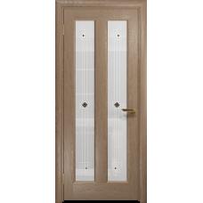 Ульяновская дверь Тесей дуб стекло белое пескоструйное «ромб»