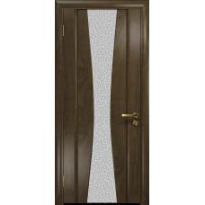 Ульяновская дверь Соната-2 американский орех стекло триплекс белый с тканью