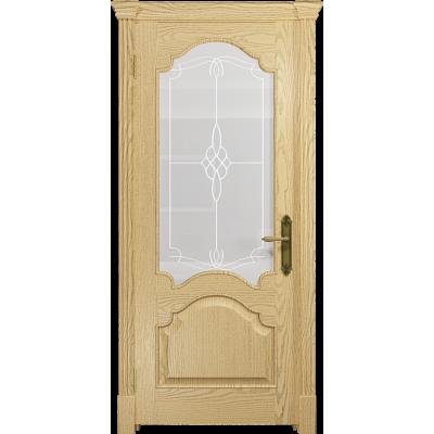 Ульяновская дверь Валенсия-1 ясень ваниль стекло белое пескоструйное «корено»