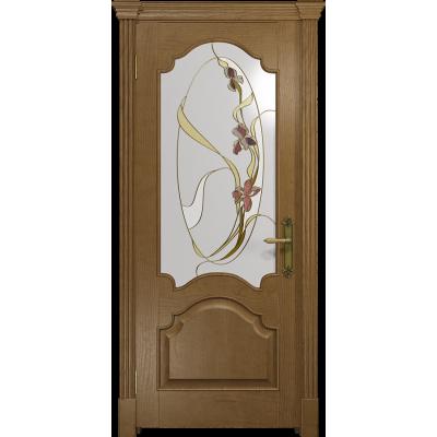 Ульяновская дверь Валенсия-1 ясень античный стекло витраж «овал»