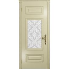 Ульяновская дверь Версаль-4 эмаль слоновая кость стекло белое пескоструйное «ковер»