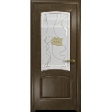 Ульяновская дверь Ровере американский орех стекло витраж «соната»
