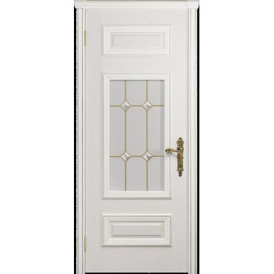 Ульяновская дверь Версаль-4 ясень белый стекло витраж «адель»