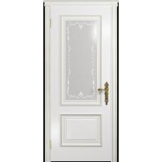 Ульяновская дверь Версаль-1 эмаль белая стекло белое пескоструйное «версаль-1»
