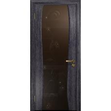 Ульяновская дверь Портелло-2 абрикос стекло триплекс бронзовый «вьюнок» глянцевый