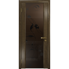 Ульяновская дверь Триумф-3 американский орех стекло триплекс бронзовый «вьюнок» матовый