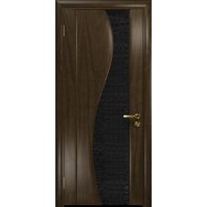 Ульяновская дверь Фрея-2 американский орех тонированный стекло триплекс черный с тканью