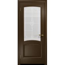 Ульяновская дверь Ровере венге стекло белое пескоструйное «корено»