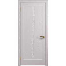 Ульяновская дверь Миланика-3 ясень белый стекло белое пескоструйное «миланика-3»