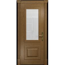 Ульяновская дверь Кардинал ясень античный стекло белое с гравировкой «кардинал»