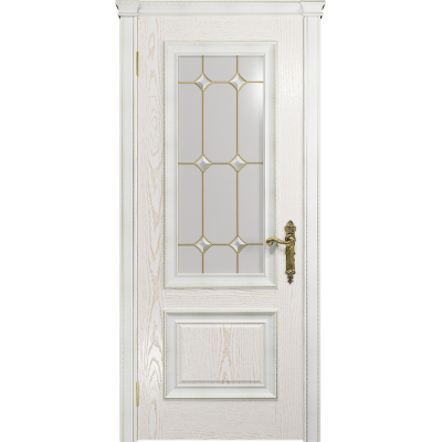 Ульяновская дверь Версаль-1 Декор ясень белый золото стекло витраж «адель»