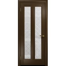 Ульяновская дверь Тесей венге стекло белое с гравировкой «решетка»