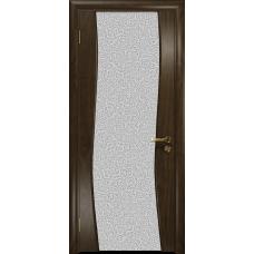 Ульяновская дверь Грация-3 американский орех тонированный стекло триплекс белый с тканью