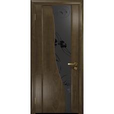 Ульяновская дверь Торелло американский орех стекло триплекс черный «вьюнок» матовый