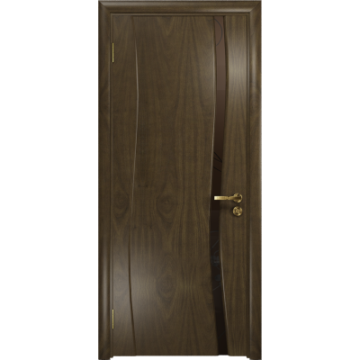 Ульяновская дверь Грация-1 американский орех стекло триплекс бронзовый «вьюнок» матовый