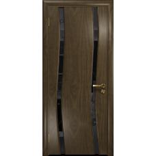 Ульяновская дверь Грация-2 американский орех стекло триплекс черный «вьюнок» глянцевый