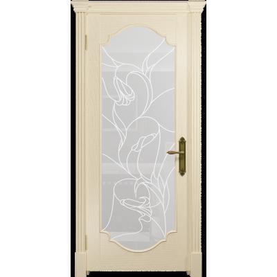 Ульяновская дверь Валенсия-2 ясень слоновая кость стекло белое пескоструйное «кампанелла»