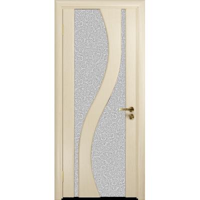 Ульяновская дверь Веста ясень слоновая кость стекло триплекс белый с тканью