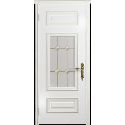 Ульяновская дверь Версаль-4 эмаль белая стекло витраж «адель»