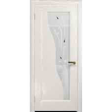 Ульяновская дверь Торино ясень белый золото стекло белое пескоструйное «рами»
