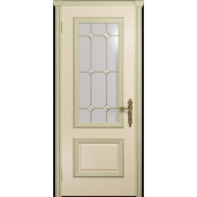 Ульяновская дверь Версаль-1 ясень слоновая кость стекло витраж «адель»