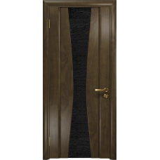 Ульяновская дверь Соната-2 американский орех стекло триплекс черный с тканью