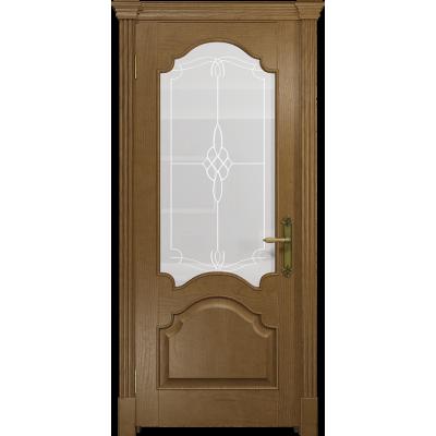 Ульяновская дверь Валенсия-1 ясень античный стекло белое пескоструйное «корено»