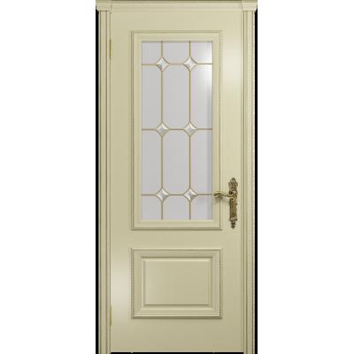 Ульяновская дверь Версаль-1 эмаль слоновая кость стекло витраж «адель»