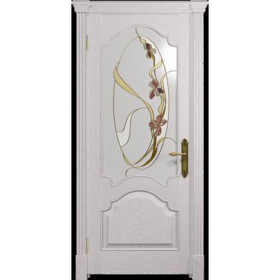 Ульяновская дверь Валенсия-1 ясень белый стекло витраж «овал»