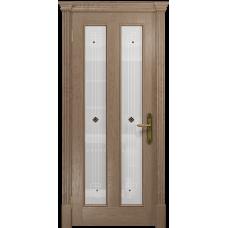 Ульяновская дверь Неаполь дуб стекло белое пескоструйное «ромб»