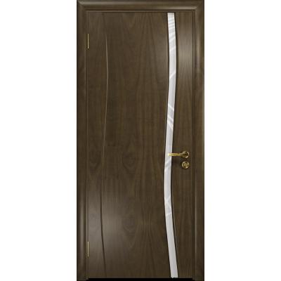 Ульяновская дверь Грация-1 американский орех стекло триплекс белый 3d «куб»